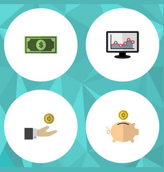 flat icon incoming set of hand with coin chart vector image