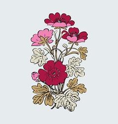 Floral bush retro on gray background hand drawn vector
