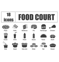 food court set of icons line delivery of vector image