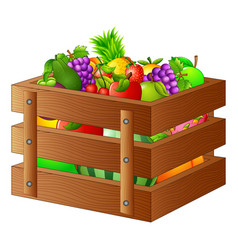 fresh fruits in a wooden box vector image