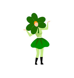 girl in green irish costume and clover shaped vector image
