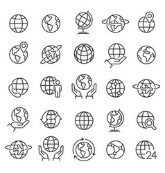 Globe icon set planet earth world map in vector