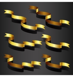 Gold ribbon set vector