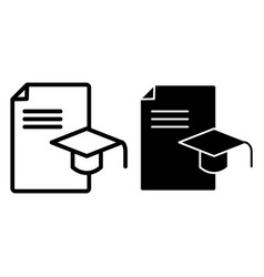 Graduation cap and document line and glyph icon vector