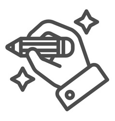 Hand with pencil line icon hand drawing vector