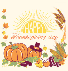 happy thanksgiving background with seasonal vector image