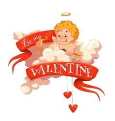Happy valentine day Heart with cherub vector image vector image