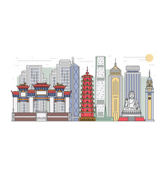 hong kong landmark cityscape banner isolated on vector image