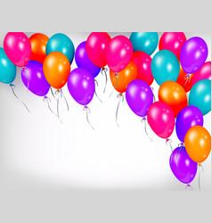 horizontal line border of shiny colorful balloons vector image