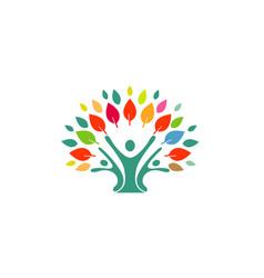 human tree logo vector image
