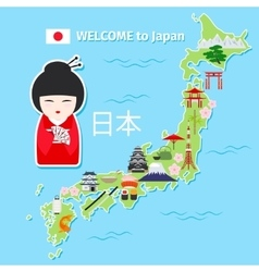 Japan travel map vector