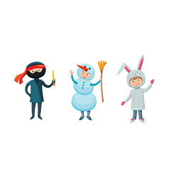 Kids different costumes isolated vector