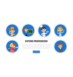 kids different professions set future vector image