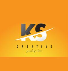 Ks k s letter modern logo design with yellow vector