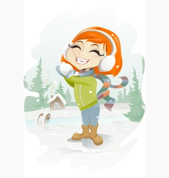 Lets play snowballs vector image