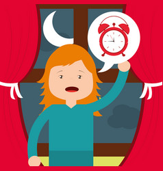 Little girl with clock wake up window background vector
