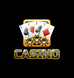 Logo text casino and icon on black background for vector