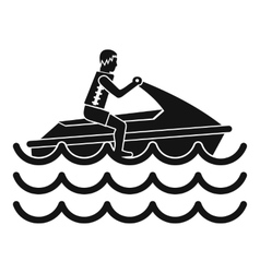 Man on jet ski rides icon simple style vector image