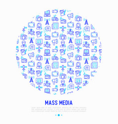 mass media concept in circle with thin line icons vector image