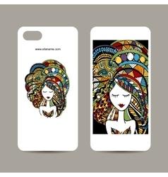 Mobile phone cover design Zenart female portrait vector