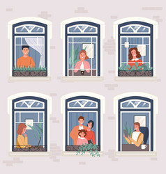 neighbors in their apartments spend time at home vector image
