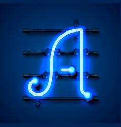 Neon font letter a art design signboard vector