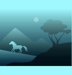 Night landscape with a wild horse vector