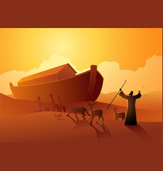 noah and ark before great flood vector image