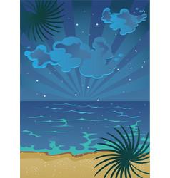 Picture cartoon summer nocturnal beach vector