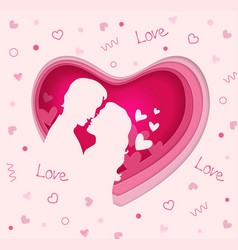 pink heart with couple in love vector image