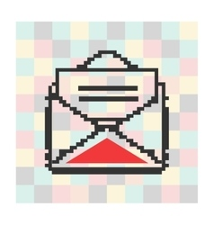 pixel icon letter and envelope on a square vector image
