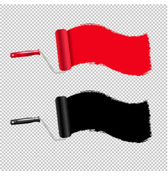 red and black paint roller and paint stroke vector image
