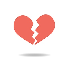 Red heartbreak broken heart or divorce flat icon vector