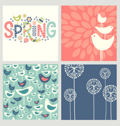 retro spring birds flowers doodles vector image