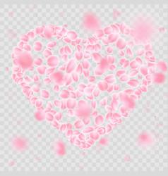 romantic falling flower petals heart shape eps 10 vector image