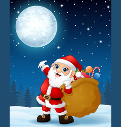 santa claus carrying sack full of gifts in the win vector image