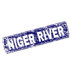 Scratched niger river framed rounded rectangle vector