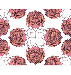 seamless pattern with pink lotus element for vector image