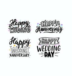 Set happy wedding anniversary day hand drawn vector