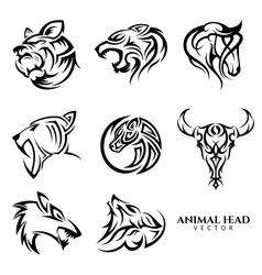 set tribal animal head icon symbol for vector image