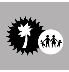 Silhouette family vacation coconut tree vector