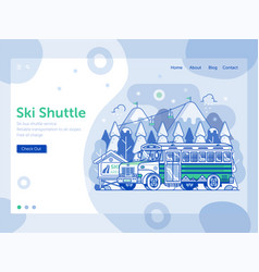 ski resort landing page with shuttle bus vector image