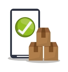Smartphone package and delivery design vector image