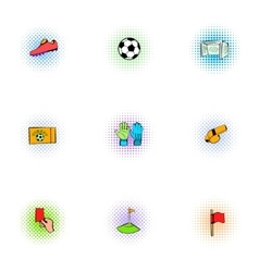 Sport football icons set pop-art style vector image
