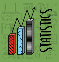 statistics chart bar financial business vector image