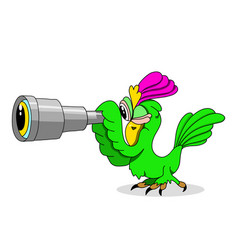 Stock parrot with a telescope vector