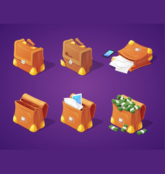 suitcases with money for game interface vector image