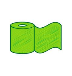 Toilet paper sign lemon scribble icon on vector