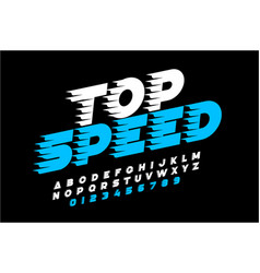 top speed style font alphabet and numbers vector image
