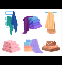 Towels set cloth towel for bath cartoon vector